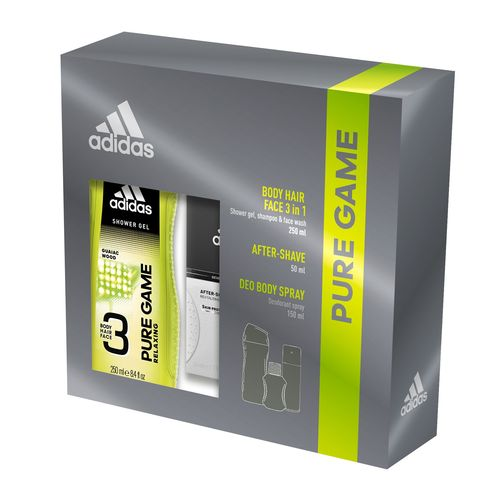 Adidas Pure Game After Shave 50ml + Deo 150ml + 3in1 Shower Gel 250ml комплект за мъже